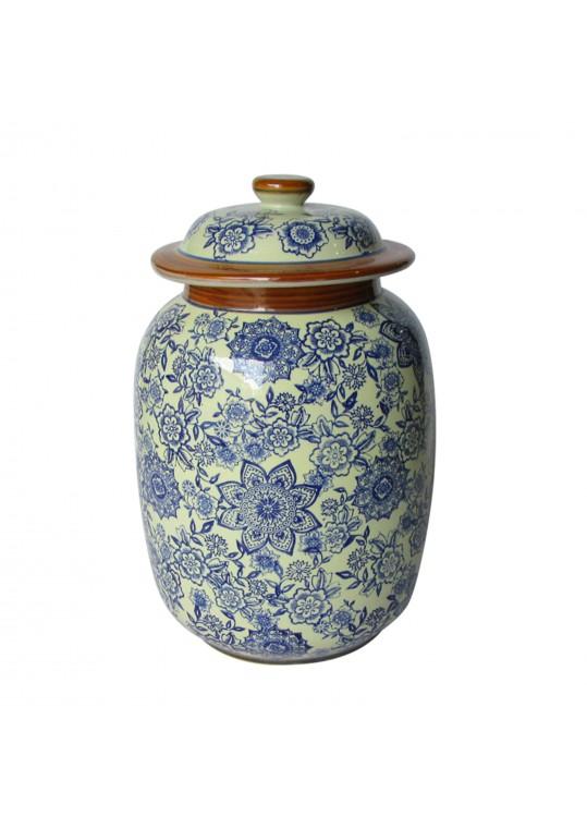 Medium Blue & White Pattern Lidded Jar