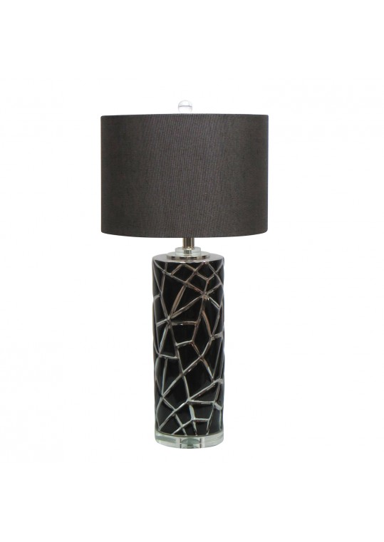 27.75 Inch H Ceramic Table Lamp with Crystal Base