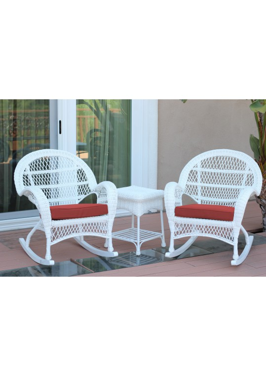 3pc Santa Maria White Rocker Wicker Chair Set - Brick Red Cushions