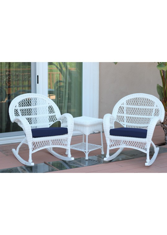 3pc Santa Maria White Rocker Wicker Chair Set - Midnight Blue Cushions