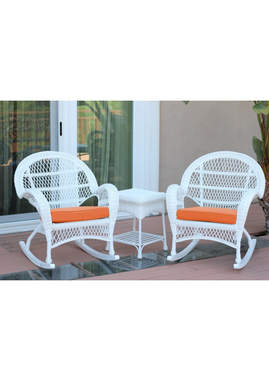 3pc Santa Maria White Rocker Wicker Chair Set - Orange Cushions
