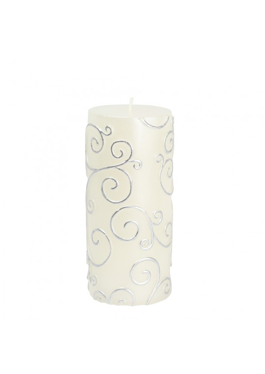"3 x 6"" White Scroll Pillar Candle (12pcs/Case) Bulk"