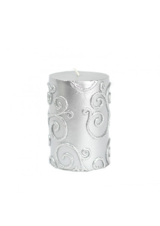 "3 x 4"" Silver Scroll Pillar Candle (12pcs/Case) Bulk"
