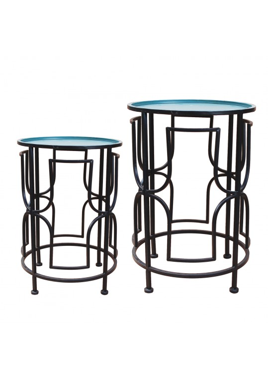 Set of 2 Round Metal Side Table - Green and Black