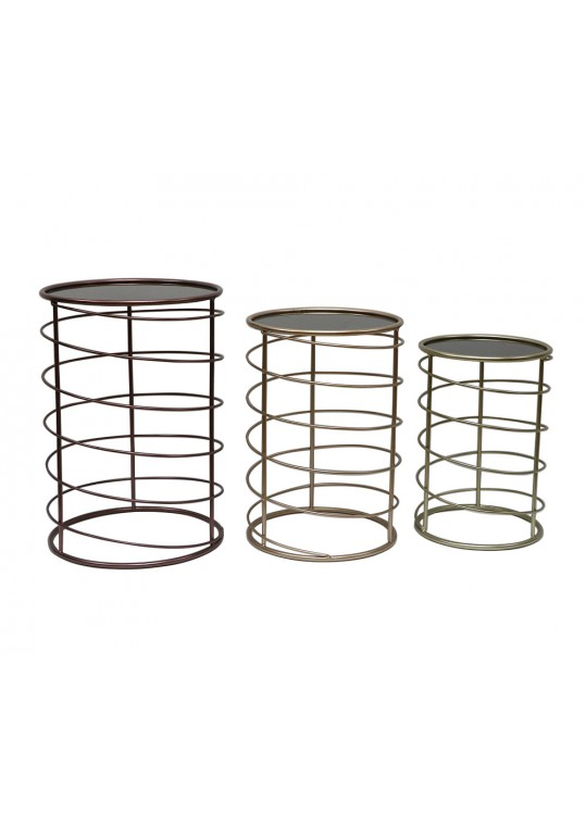 Set of 3 Mirror End Table