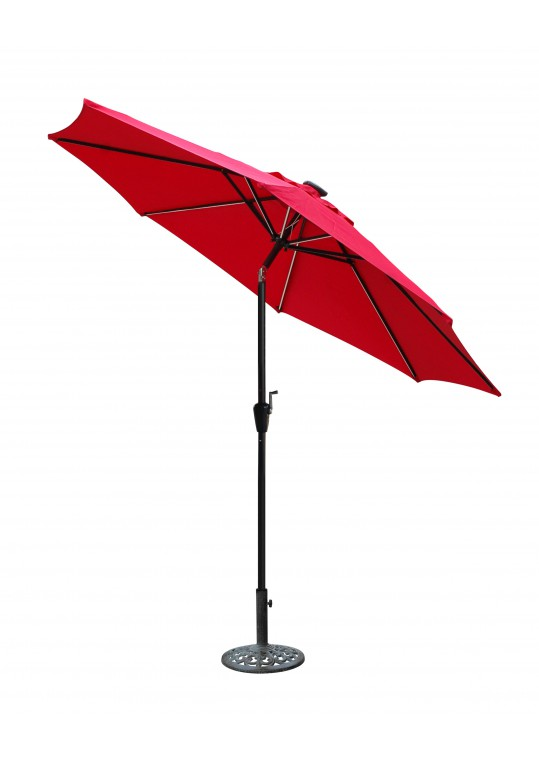 9 FT Aluminum Umbrella w/ Crank and Solar Guide Tubes - Black Pole/Red Fabric