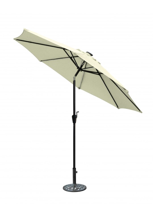 9 FT Aluminum Umbrella w/ Crank and Solar Guide Tubes - Black Pole/Tan Fabric