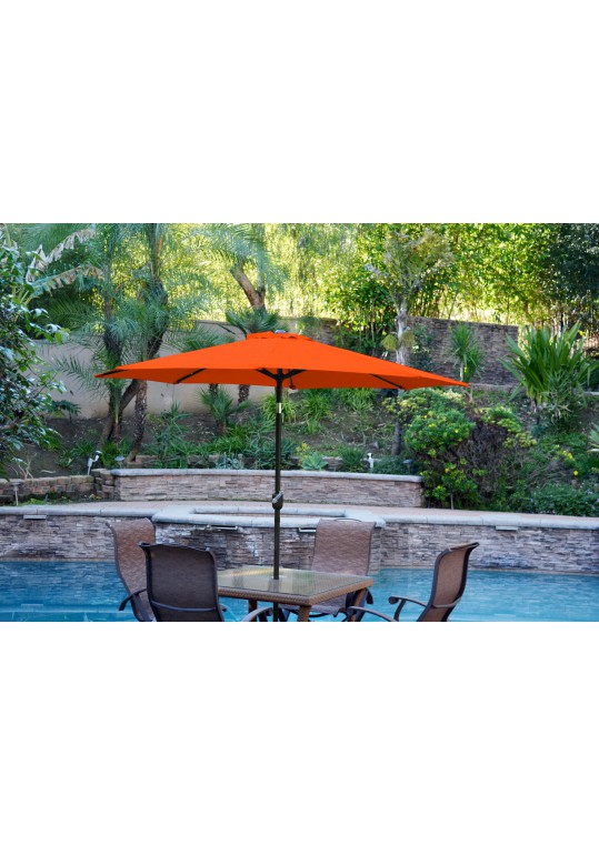 9ft. Aluminum Patio Market Umbrella Tilt w/ Crank - Orange Fabric/Black Pole