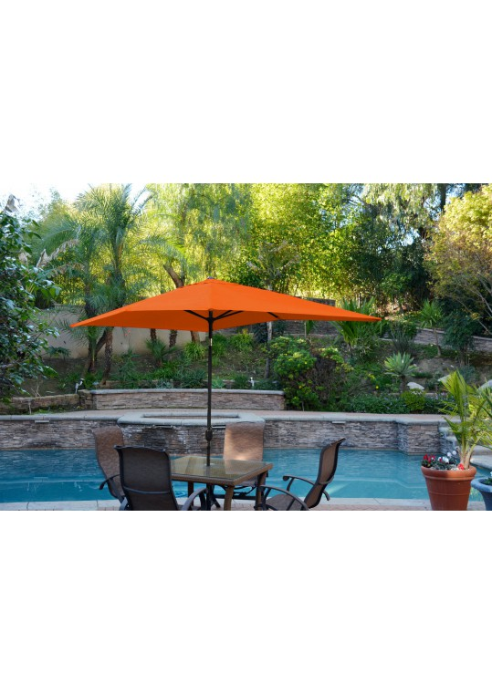 6.5' x 10' Aluminum Patio Market Umbrella Tilt w/ Crank - Orange Fabric/Black Pole