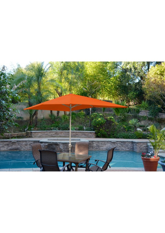 6.5' x 10' Aluminum Patio Market Umbrella Tilt with Crank - Orange Fabric/Grey Pole