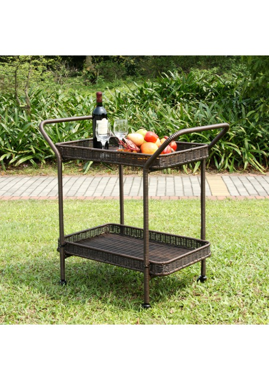 Espresso Wicker Serving Cart