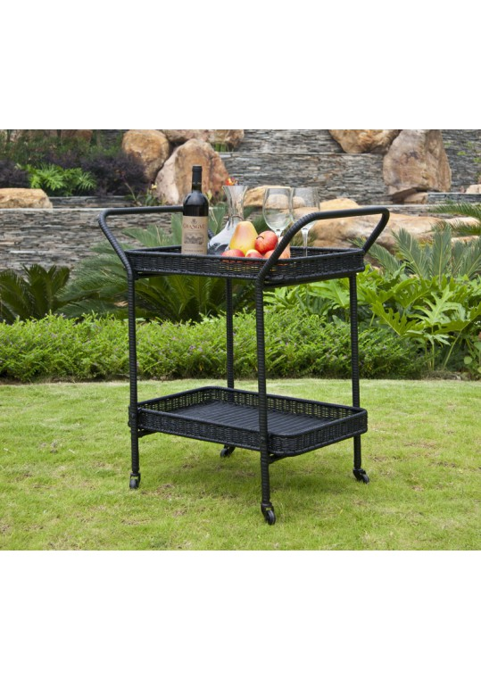 Black Wicker Serving Cart