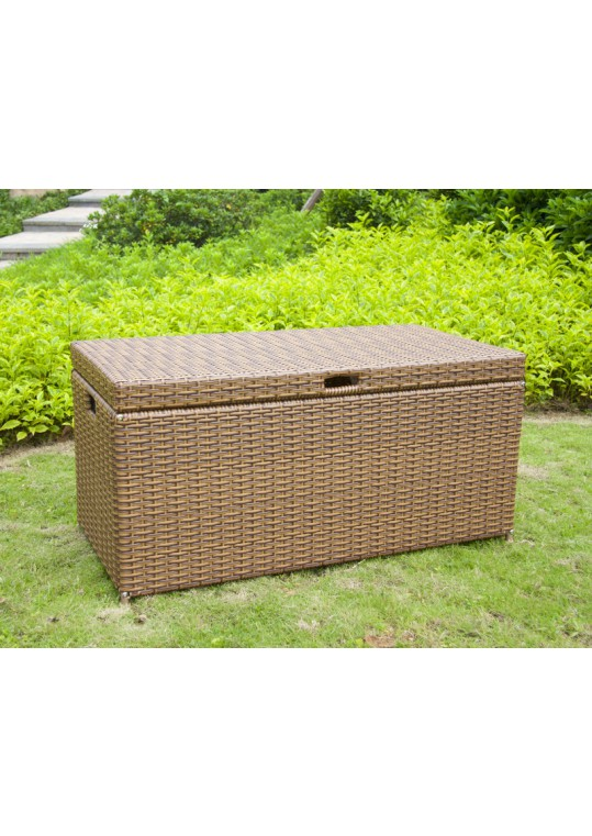 Honey Wicker Patio Furniture Storage Deck Box