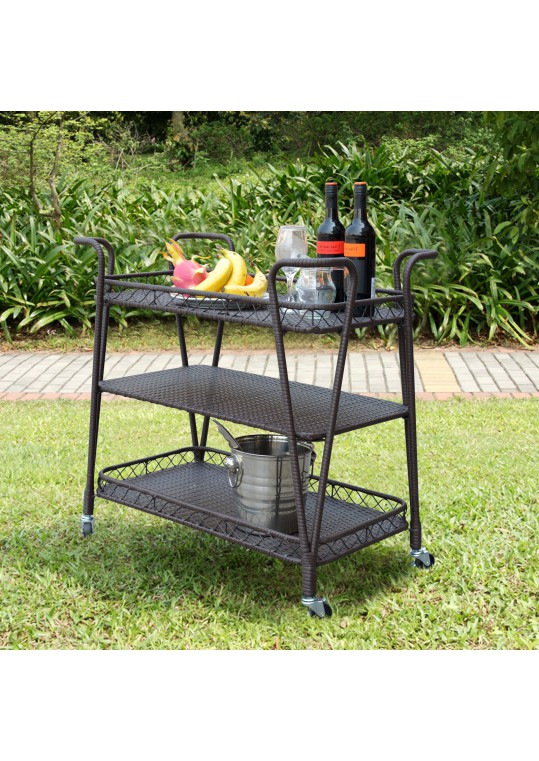 Espresso Resin wicker serving cart in three layers tray