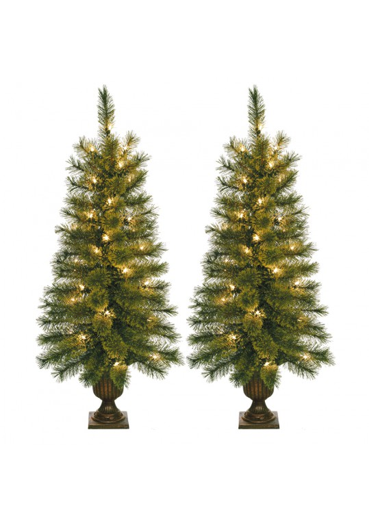 3.5 Feet. Pre-lite Artificial Christmas Tree With Plastic Pot Stand - Set of 2