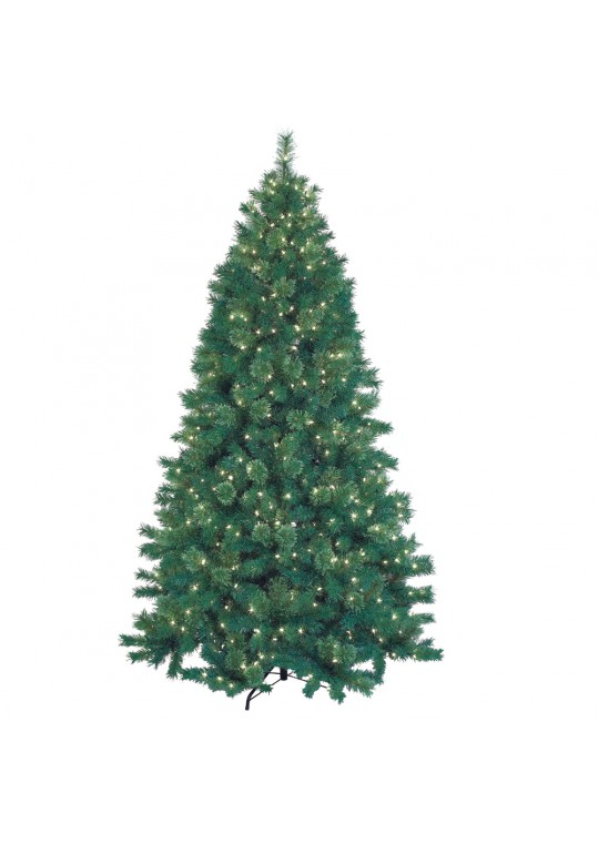 7.5 Feet. Pre-Lit Artificial Christmas Tree With Metal Base