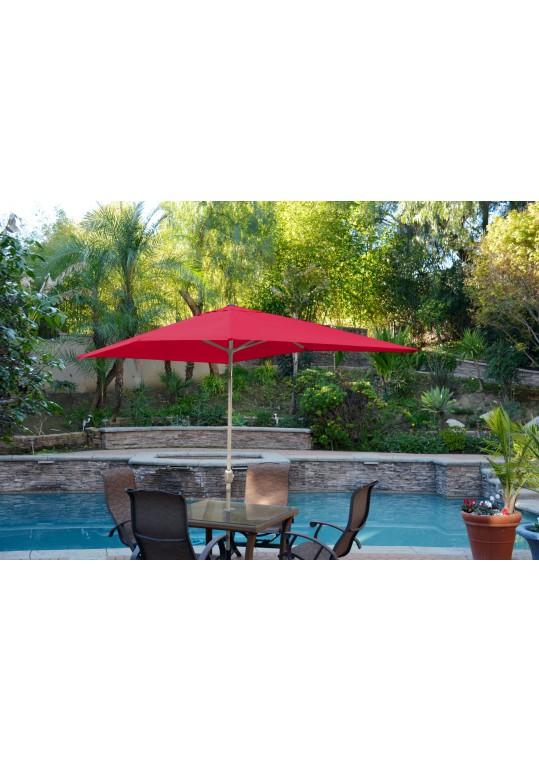 6.5' x 10' Aluminum Patio Market Umbrella Tilt w/ Crank - Red Fabric/Grey Pole