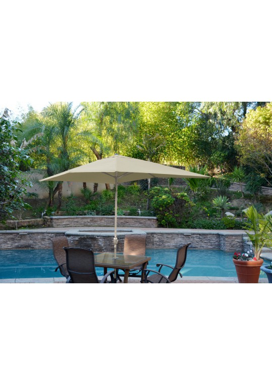 6.5' x 10' Aluminum Patio Market Umbrella Tilt w/ Crank - Tan Fabric/Grey Pole