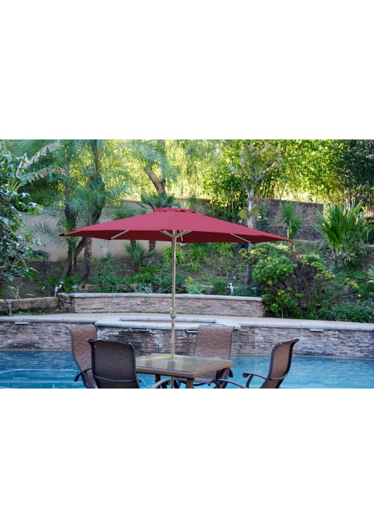 6.5' x 10' Aluminum Patio Market Umbrella Tilt with Crank - Burgundy Fabric/Grey Pole