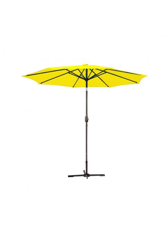 9ft. Aluminum Patio Market Umbrella Tilt with Crank - Yellow Fabric/Grey Pole