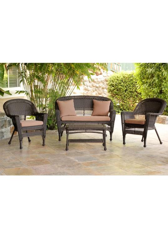 4pc Espresso Wicker Conversation Set - Brown Cushions
