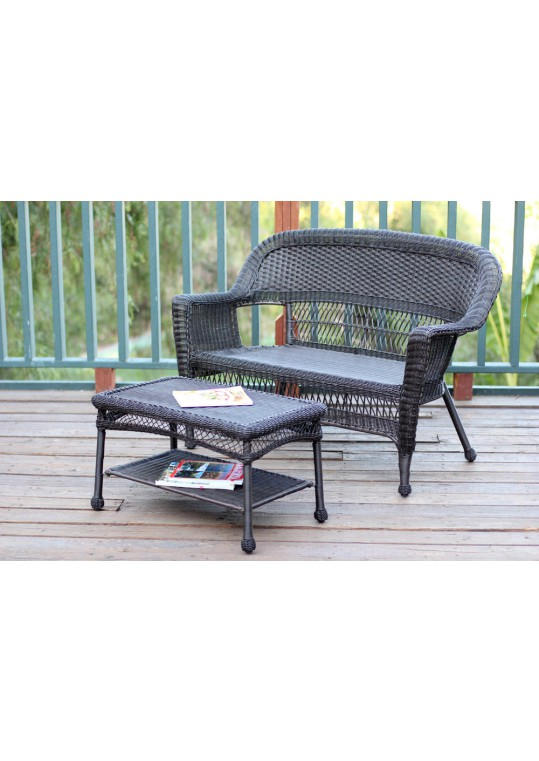 Espresso Wicker Patio Love Seat And Coffee Table Set Without Cushion