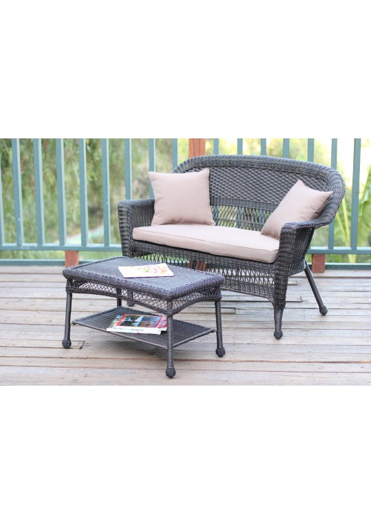 Espresso Wicker Patio Love Seat And Coffee Table Set With Tan Cushion