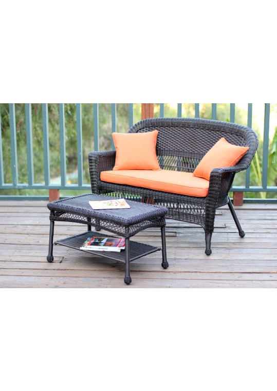 Espresso Wicker Patio Love Seat And Coffee Table Set With Orange Cushion