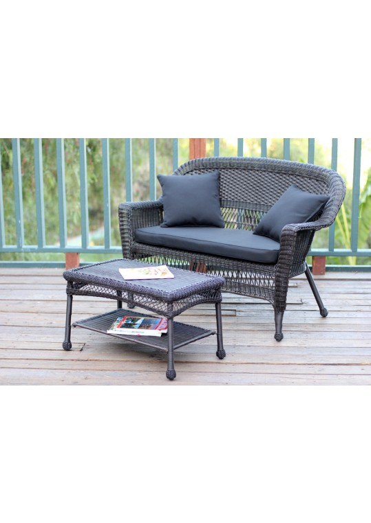 Espresso Wicker Patio Love Seat And Coffee Table Set With Black Cushion