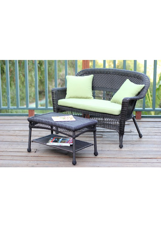 Espresso Wicker Patio Love Seat And Coffee Table Set With Sage Green Cushion