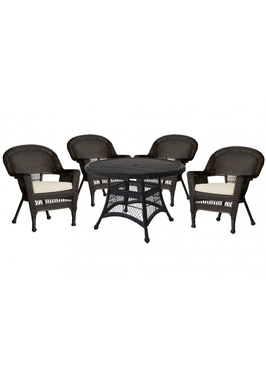 5pc Espresso Wicker Dining Set - Ivory Cushions