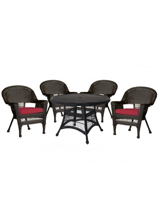 5pc Espresso Wicker Dining Set - Red Cushions