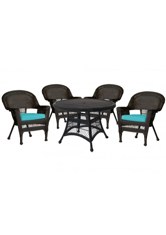5pc Espresso Wicker Dining Set - Turquoise Cushions