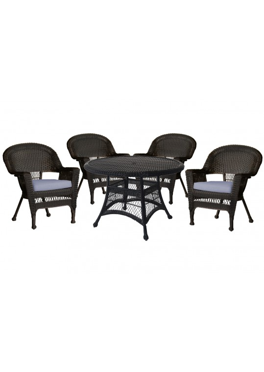 5pc Espresso Wicker Dining Set - Steel Blue Cushions