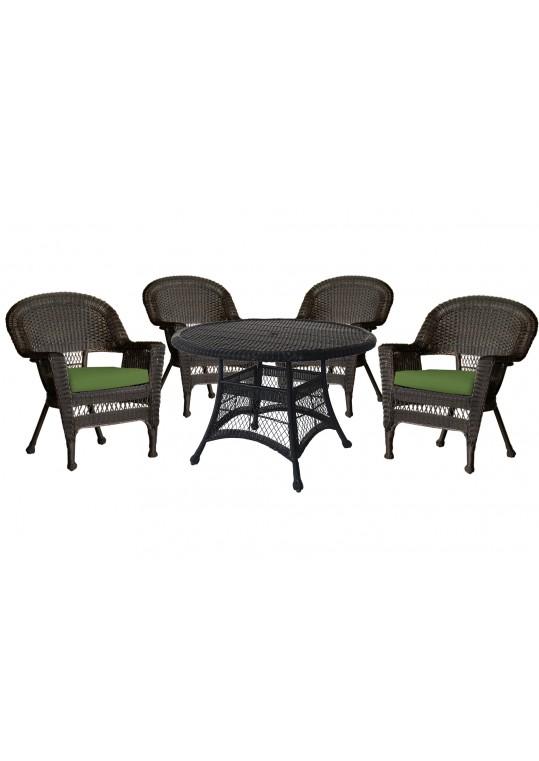 5pc Espresso Wicker Dining Set - Hunter Green Cushions