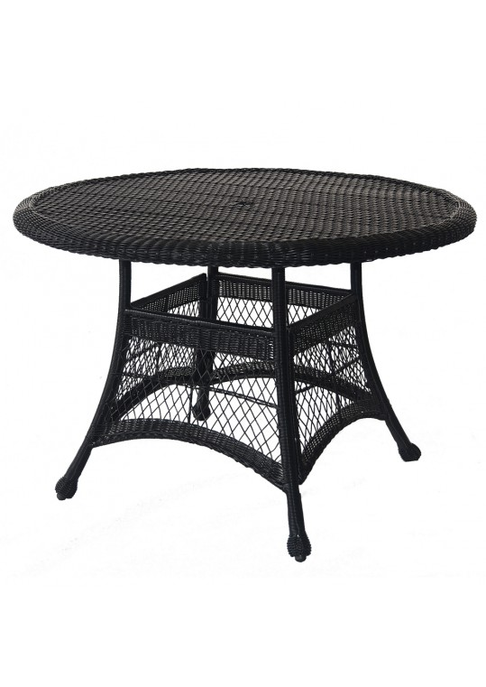 Espresso Wicker 44 Inch Round Dining Table