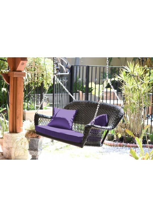 Espresso Resin Wicker Porch Swing with Purple Cushion