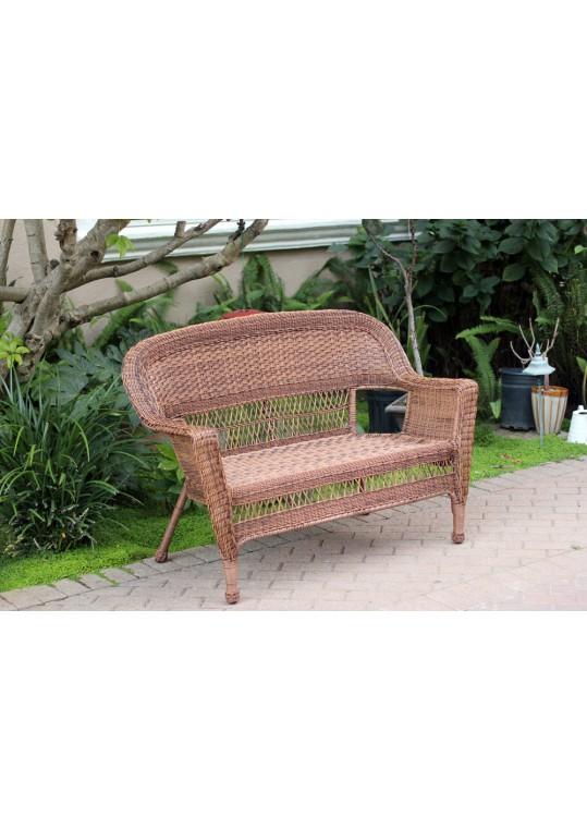 Honey Wicker Patio Love Seat