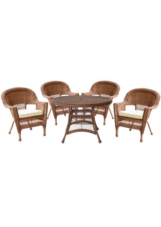 5pc Honey Wicker Dining Set - Ivory Cushions
