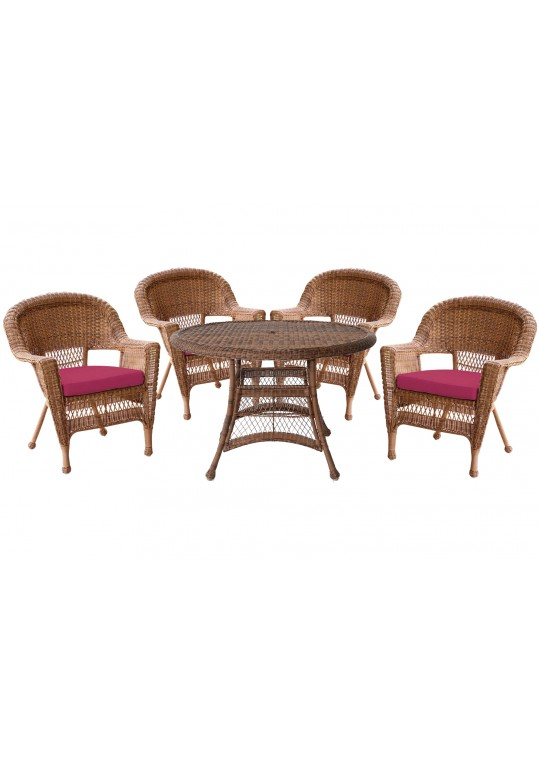 5pc Honey Wicker Dining Set - Red Cushions