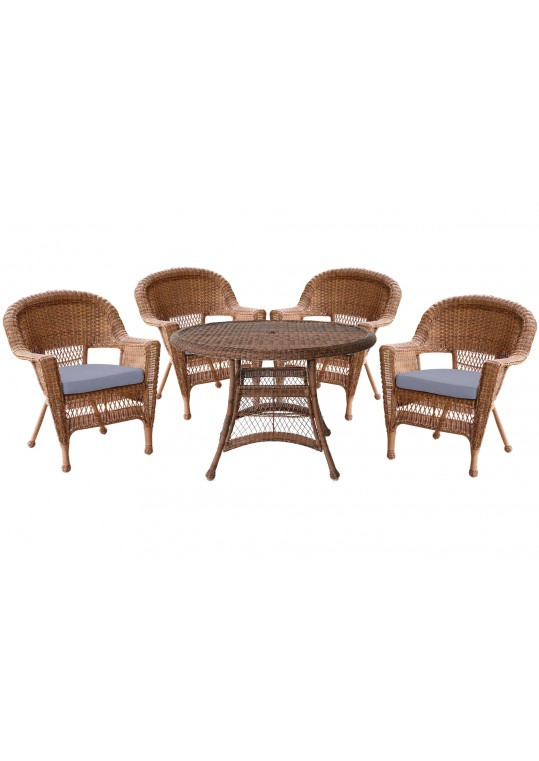 5pc Honey Wicker Dining Set - Steel Blue Cushions