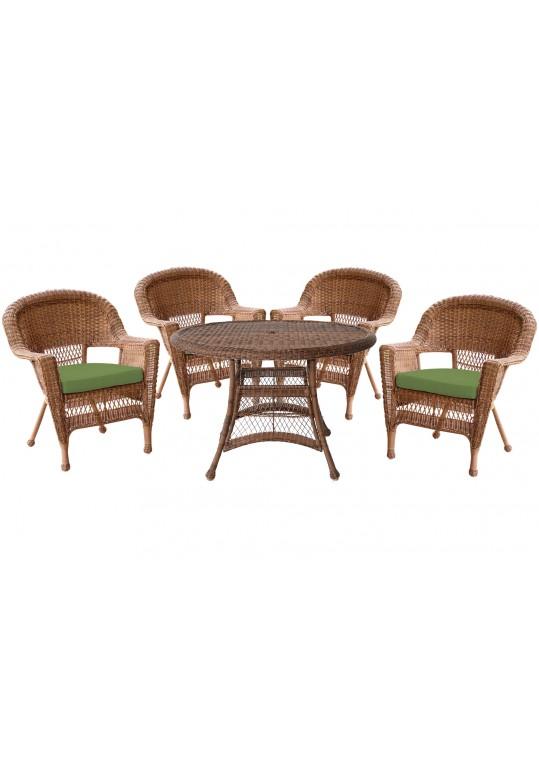 5pc Honey Wicker Dining Set - Hunter Green Cushions