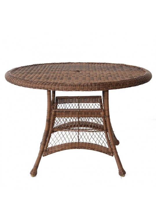 Honey Wicker 44 Inch Round Dining Table