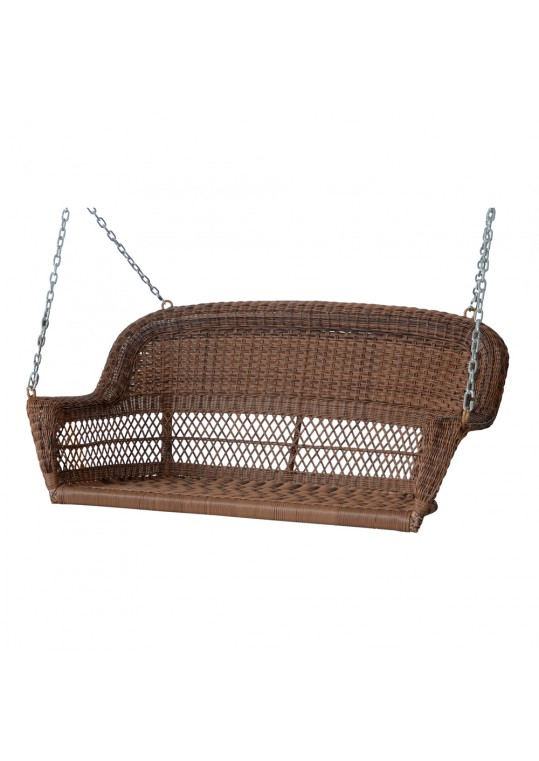 Honey Resin Wicker Porch Swing