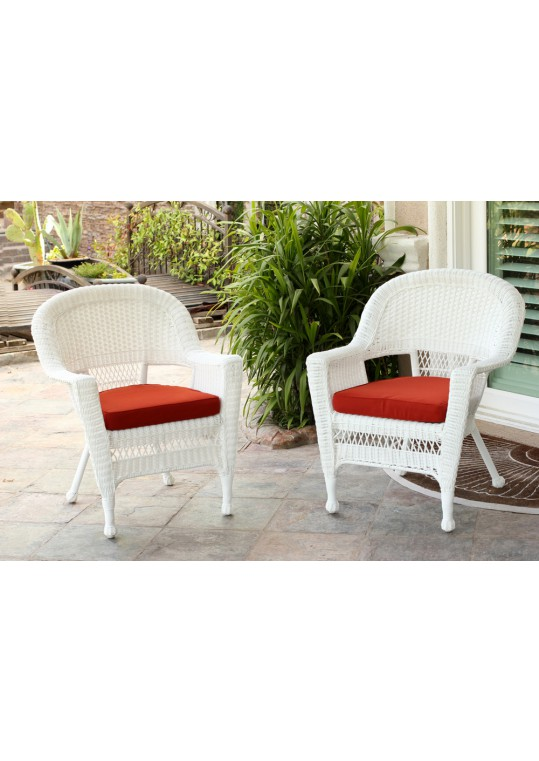 White Wicker Chair With Brick Red Cushion - Set of 2