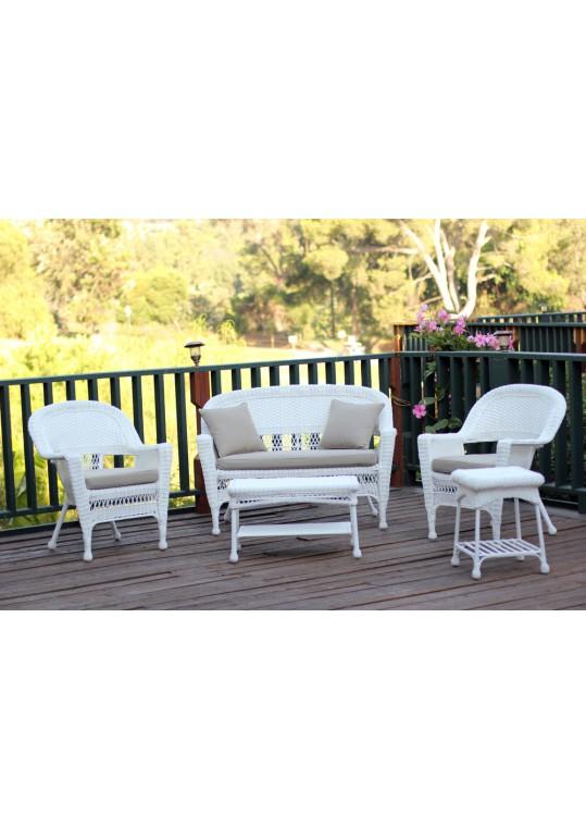5pc White Wicker Conversation Set - Tan Cushions