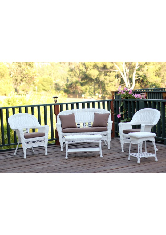 5pc White Wicker Conversation Set - Brown Cushions