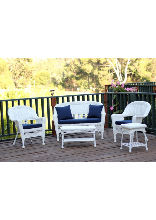 5pc White Wicker Conversation Set - Midnight Blue Cushions