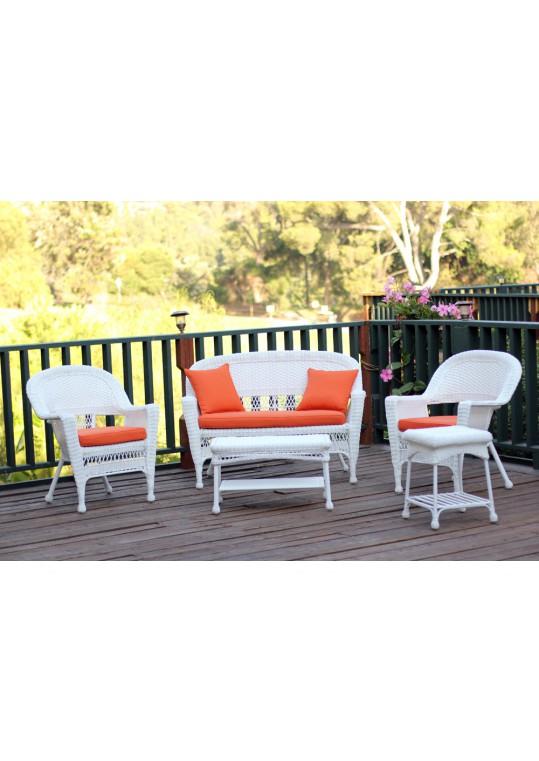 5pc White Wicker Conversation Set - Orange Cushions