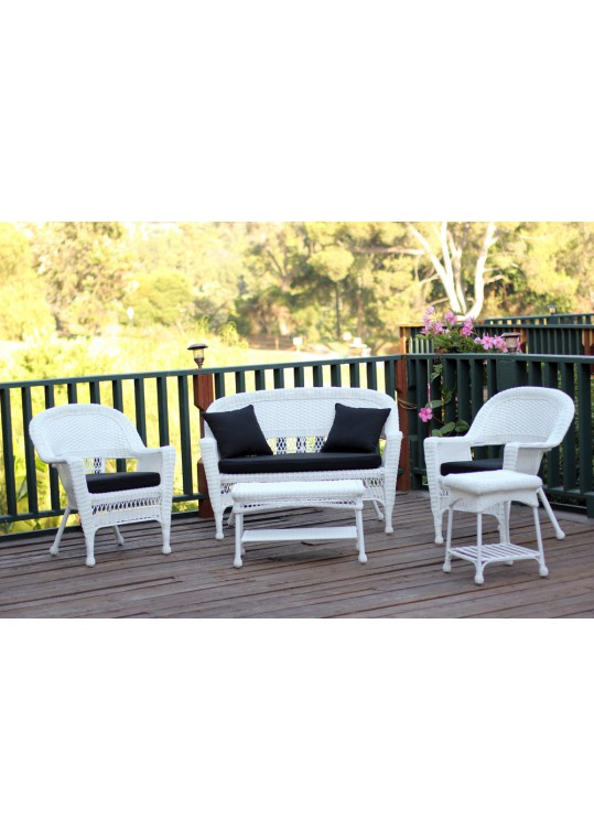 5pc White Wicker Conversation Set - Black Cushions